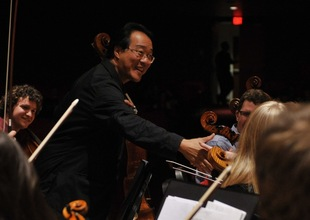 World-renowned cellist Yo-Yo Ma with the DePauw Orchestra. Just another day on campus...